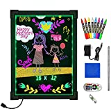 Woodsam Dry Erase Led Board - 16' x 12' Erasable Neon Message Drawing Learning Sign Board with 2 Vivid Liquid Chalk Markers for Kids