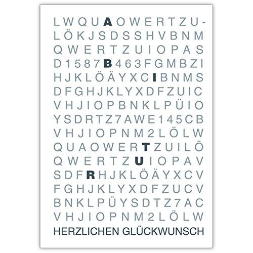Im 10er Set: Herzlichen Glückwunsch zum Abitur wird groß geschrieben • hübsche Klappkarte mit Umschlag zum Gratulieren für beste Wünsche
