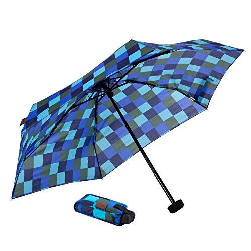 Euroschirm Dainty Square Design der Sonnen-, Wander-, Regen- & Trekkingschirm Farbe Marine/Oliv/kö´blau/eisblau