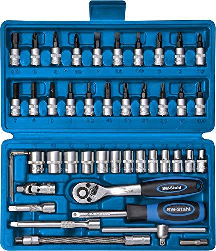 SW-Stahl S2146 Steckschlüsslsatz I 46-teilig I 1/4 Zoll I Werkzeugkoffer Industriequalität