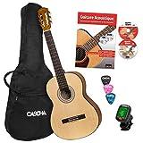 CASCHA Student Series 4/4 Guitare Classique - guitare acoustique kit avec livre, accordeur, sac rembourré, 3 médiators et cordes en nylon
