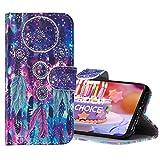 FatcatChoice für Motorola Moto G6 Plus 2018 Hülle, [Gemalte Musterserie] 3D Flip PU Leder Magnetisch Schutzhülle Stand Handy Tasche Zwei Kartenfächer Brieftasche Wallet Hülle Cover (Traumfänger 1)