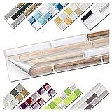 Wandora 1 Set Fliesenaufkleber 27 x 5,0 cm Kupfer marmor Silber Taupe Ziegel Design 15 I 3D Mosaik Fliesenfolie Küche Bad Aufkleber W1536