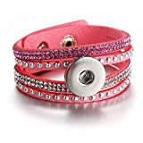IJEWALRY Pulsera De La Mujer,Pulsera,Fashion Personal Charm Snap Bracelet&Bangles Rhinestone Charms Leather Bracelets For Women Fit Boom Life 18/20Mm Snap Button Jewelry