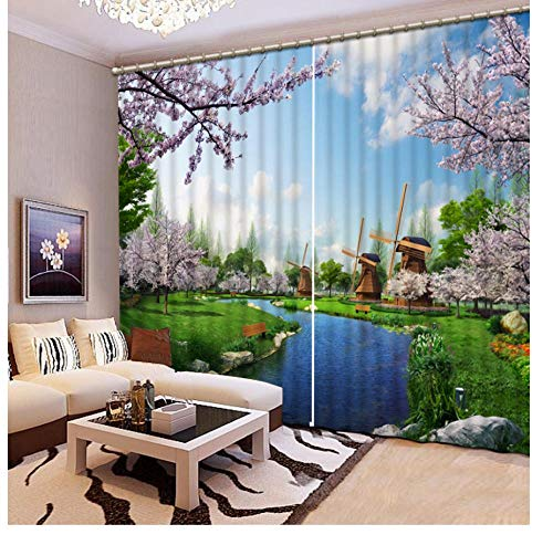 Custom Size 3D Curtain Bedroom Landscape Natural Mill Bathroom Blackout Curtain Fabric Window Curtain Living Room 2 Panels-W168X229cm (66 * 90 inch)