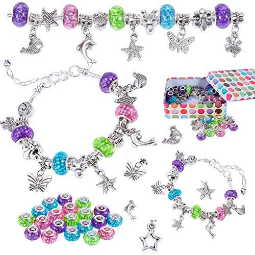 Nabance Charm Armband Kit DIY Schmuck Bastelset Mädchen Armbänder Selber Machen Mädchen Geschenke Charm Armband Kit Geschenke für Mädchen Teens mit Schöne Perlen 3 Silber Kette