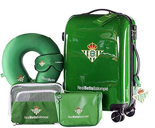 Real Betis Balompié - Pack de Viaje Maleta y Accesorios - Producto Oficial del Equipo Temporada 19/20. Incluye Almohada Cervical, Organizador de Equipaje, Neceser, Antifaz y Etiqueta de Equipaje.