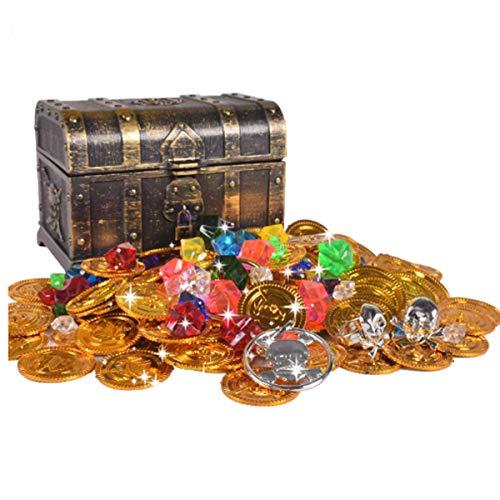 mengger Schatztruhe Schatzkiste Pirat Goldmünzen Piratenschatz Spielzeug Set für Goldnuggets Piratenschatzkiste Schmucksteine Geld Gefüllt Piratentruhe Geldtruhe
