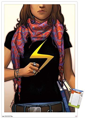 "Trends International Comics Ms. Marvel #1 Wall Poster, 14.725"" x 22.375"", Premium Poster & Mount Bundle"