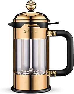 BaoYPP Cafetera de émbolo 304 Manual de Acero Inoxidable Prensa Pot hogar Filtro té café Prensa de Filtro de Vidrio Copa T...