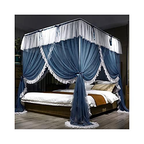 DSMGLRBGZ Mosquitera Cama Tela Dosel con Marco - 3 Apertura - Cortina Plegable para Chicas & Adultos Twin a King Size Bed,Gris,1.5m Bed