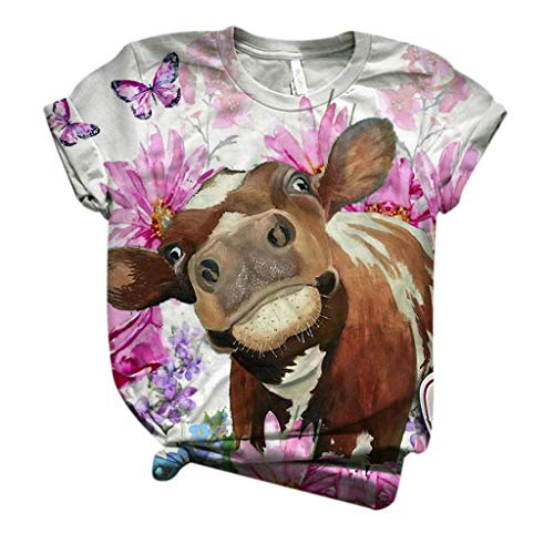 Buy Toimothcn 3D Cow Printed O-Neck Tops Plus Size Women Short Sleeve Funny Tee Tshirt Blouse Tops(1...