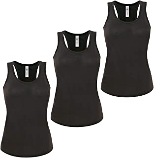 3 Pack Womens Ladies Vest Cami Sleeveless Top T-Shirt Base Layer Stretch Tank Top Sports Gym