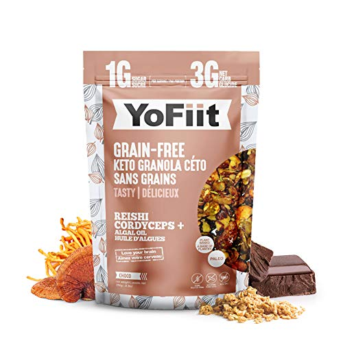 Keto Cereal. Low Carb Granola. Net Carbs Only 3g. Dairy-Free (Vegan), Gluten-Free. Paleo Friendly. No Sugar Alcohols. No Stevia. 10oz each. (Chocolate 1-pack)