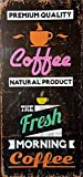 MI RINCON Cuadro de Madera Vintage Fresh Morning Coffee, 52x25 cm