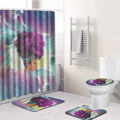 TIREOW 4 STÜCKE Meer Stil rutschfeste Wc Polyester Abdeckmatte Badezimmer Duschvorhang Wandteppich Tapisserie Wasser Absorbieren Teppich Fußmatte (G)