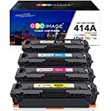 GPC Image Compatible Toner Cartridge Replacement for HP 414A W2020A 414X to use with HP Color Laserjet Pro MFP M479fdw M454dw M454dn M479fdn Printer Toner(Black Cyan Yellow Magenta, 4-Pack)