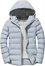 Easytoy Men's Casual Solid Classic Puffer Jacket Thicken Padded Winter Coat with Hood Outwear Tops
