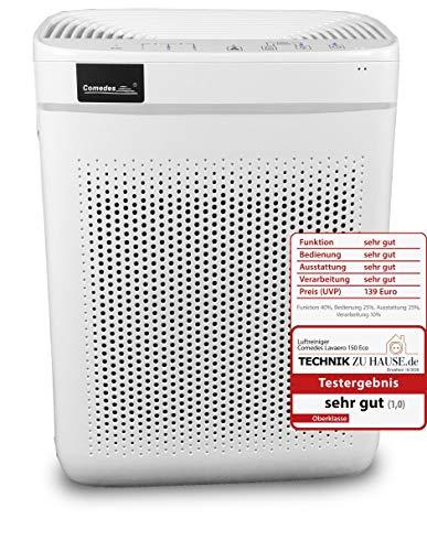 Comedes Lavaero 150 eco - Effizienter 4-Stufen Luftreiniger inkl. Nanosilbervorfilter, Aktivkohle und HEPA-Filter | CADR 250m³/h | Automatikbetrieb | Ideal für Allergiker & Raucher | Räume bis 40m²