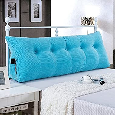 WOWMAX PP-Cotton Filled Triangular Wedge Pillow Positioning Support Reading Backrest Cushion for Sofa Bed Day Bed and Upholstered Headboard with Removable and Washable Cover Sky Blue Twin