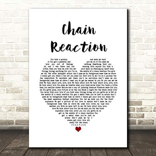 Ketting reactie wit hart lied lyrische gift cadeau poster print Medium A4