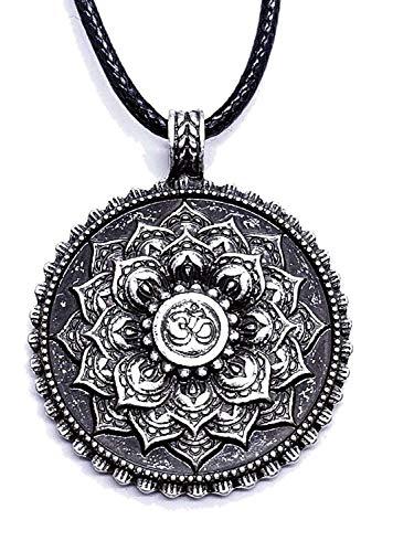 Eclectic Shop Uk Om Mandala Mantra Tantra Anhänger Silber Schwarz Buddha Tibetische Heilung Lotus Blume Buddhistisch Corded Halskette