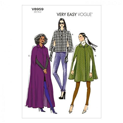 Vogue Damen-Schnittmuster 8959 Umhang Mäntel in 3 Längen