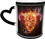 Hirola Taza que cambia de calor, taza de café mágica de la cabra del cráneo llameante personalizada sensible al calor taza de café taza taza de té de leche tazas