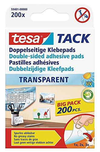 tesa doppelseitige Klebepads TACK, große Packung mit 200 Pads (2x 200er Pack)
