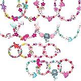 Cypin Juego de joyas de madera para niños, 10 unidades de pulsera de la amistad y 10 unidades de collar para niña, multicolor con animales y flores, pulseras, collares, pulseras para niños