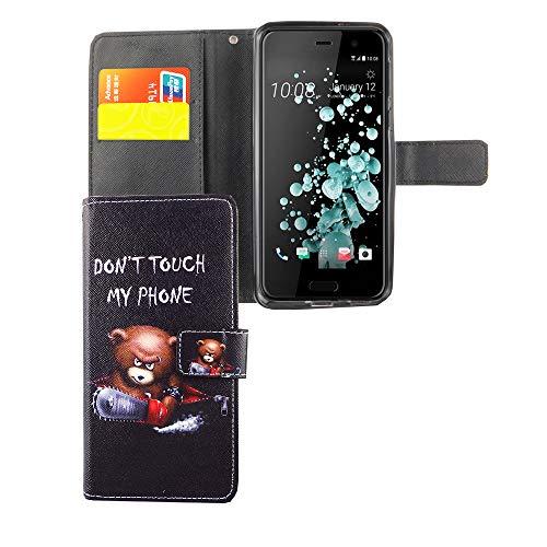 König Design Handyhülle Kompatibel mit HTC U Play Handytasche Schutzhülle Tasche Flip Hülle mit Kreditkartenfächern - Don't Touch My Phone Bär mit Kettensäge