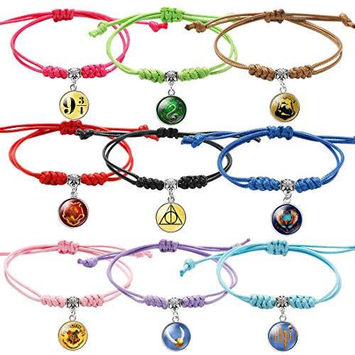 9 Piezas Wizard Tema Pulseras, Harry Potter Tema Pulsera Ajustable, Pulsera Amistad Pulsera Niña, Trenzada Brazalete Regalo de Cumpleaños de Fiesta
