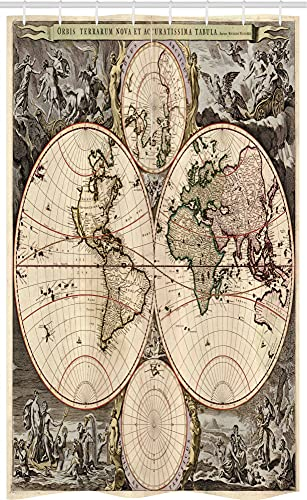 ABAKUHAUS Kartographie Schmaler Duschvorhang, Vintage Weltkarte Retro, Badezimmer Deko Set aus Stoff mit Haken, 120 x 180 cm, Taupe Champagne