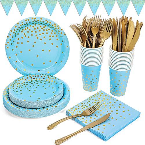 Platos Fiesta Oro Azul 150 Piezas Vajilla Papel Reutilizable Cubiertos Cumpleaños Incluye Platos Servilletas Vasos Banner para Baby Shower, Cumpleaños de Niños, Aniversario, Compromiso(25 Invitados)