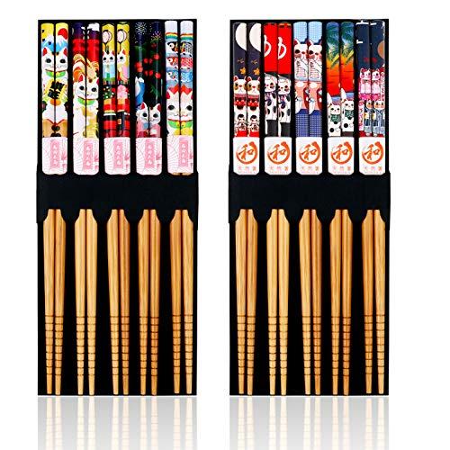 10paia Bacchette di bambù Naturale Cinesi, Antiscivolo Bacchette Giapponesi, 9 Pollici...