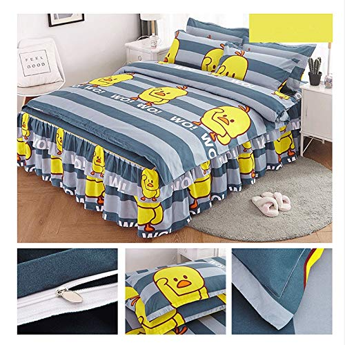 Great Features Of LC_Kwn Bed Skirt Four-Piece Suit and Pillow Bed Cover Bed Set Cotton Cotton Non-Sl...