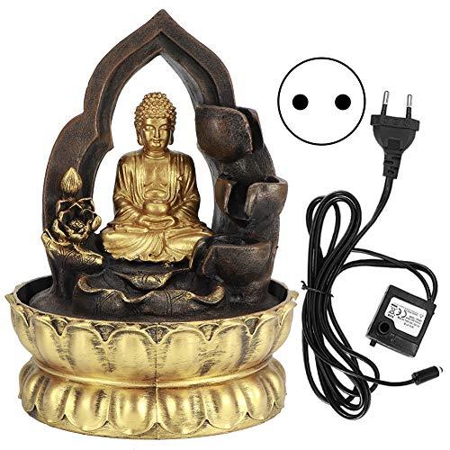 Cosiki Decoración de Buda, Fuente de la Mesa de la Fuente de Agua Corriente del Ornamento del hogar, para el hogar de la Oficina(220V, European Standard)