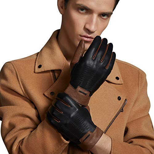 FIORETTO Winter Mens Italian Leather Driving Gloves Touchscreen Cashmere Wool Lined Cognac 10