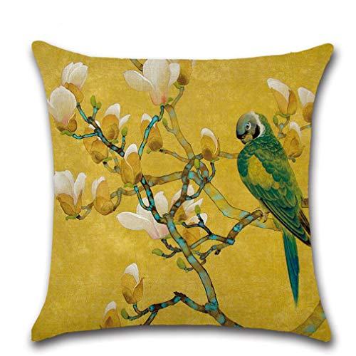 Kingus Parrot Series - Funda de cojín con diseño de pájaros y flores, diseño geométrico, Lino, Parrot Serie 02, as show