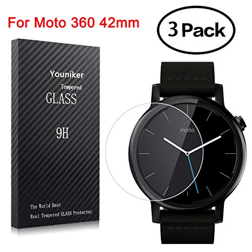 Youniker 3 Pack voor Motorola Moto 360 Screen Protectors Gehard Glas voor Moto 360 Gen 2 Smart Watch Screen Protector Foils Glas voor Moto 360 Anti-Scratch Bubble Free, Moto 360 42mm