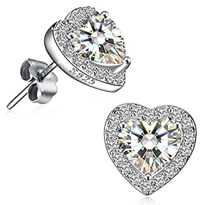 J.Rosée Christmas Jewelry Gifts Packing 925 Sterling Silver High Polished Round Cut Heart-Shape Small Stud Earrings Best Gifts for Her