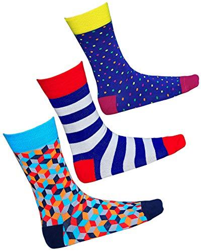 vitsocks Herren coole bunte Socken mit geometrischem Motiv, Baumwolle weich atmungsaktiv, 3-pack: streifen, punkt, raute, 43-46