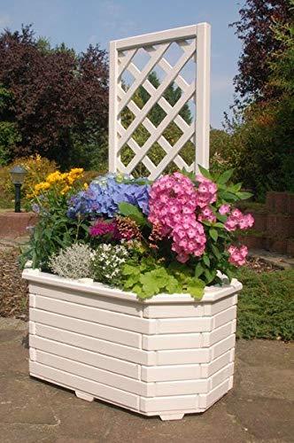 Deko-Shop-Hannusch Pflanzkasten, Blumenkasten, Blumenkübel aus massivem Holz mit schön gearbeiteter Pergola, für den Garten