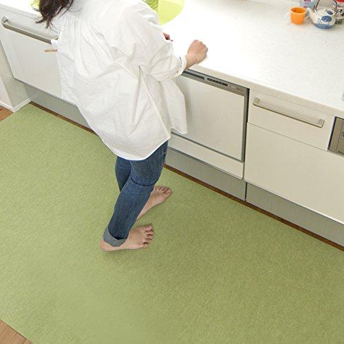 サンコー 洗えるキッチンマット ずれない おくだけ吸着 90×240cm グリーン KH-85 日本製 240