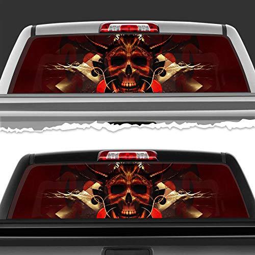 "Simynola Horned Skull Devil Skull Perforated Film Car Accessories Truck Window Wrap Car Truck Decal Car Idea SUV Decal for Truck N643 FRST (29"" x 66"")"