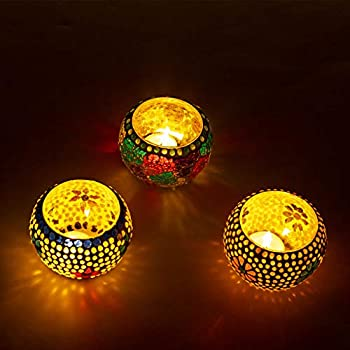 Kaameri Bazaar Mosaic Glass Tealight Candle Holders(Pack of 3) - Diwali Candle Holder, Christmas Lights Decoration - Tealight Candle Holders, Parties and Home Decor