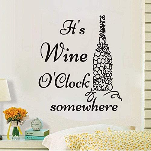 Calcomanía de pared vinilo removible etiqueta de la pared vino botella de vino papel tapiz vi en algún lugar cocina pared calcomanía arte: 56 * 65Cm