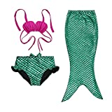 Little Girls Three Pieces Shell Top Bowknot Shorts Mermaid Tail Swimsuit (120(5-6Y)