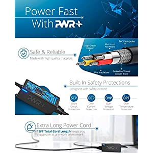 [UL Listed] Pwr+ NEMA 5-15P to NEMA 5-15R 25 Ft EXTRA LONG 16AWG 15A 3 Prong Outdoor & Indoor Extension-Cord Power Strip for Air Leaf Blower, Sewing Machine, Electric Drill, Industrial Equipment, Lawn-mower, Hedge Trimmer Refrigerator, Washer, Air Compressor, Power Tool Charger Outlet Saver Cable Extender Liberator, Red