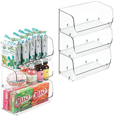 mDesign Small Household Stackable Plastic Food Storage Organizer Bin Basket with Wide Open Front product image
